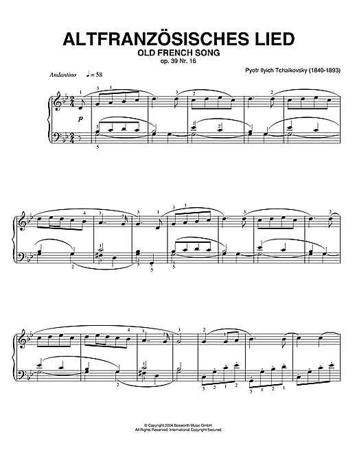 Pyotr Ilyich Tchaikovsky Old French Song, Op. 39, No. 16 (from Album For The Young) sheet music notes and chords