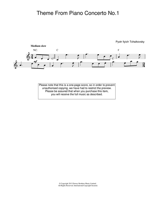 Pyotr Ilyich Tchaikovsky Piano Concerto No.1 in B Flat Minor, Op.23 sheet music notes and chords