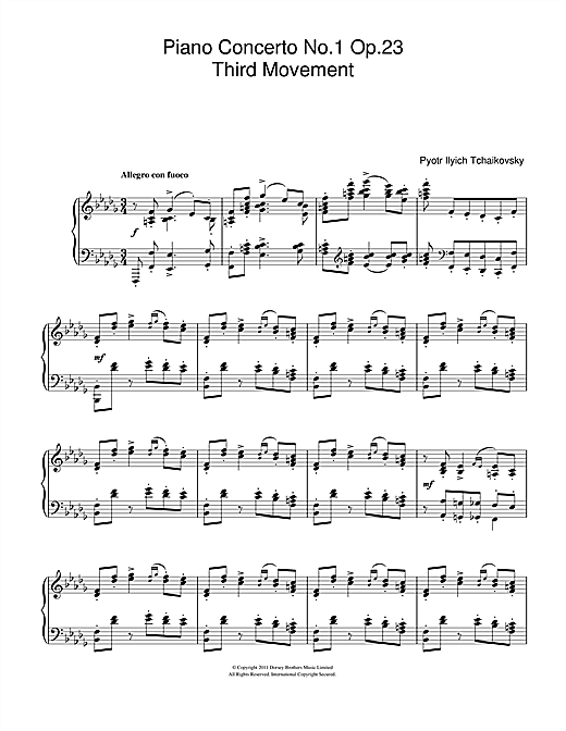 Pyotr Ilyich Tchaikovsky Piano Concerto No 1 Op 23 Third Movement Sheet Music Pdf Notes Chords Classical Score Piano Solo Download Printable Sku 111598