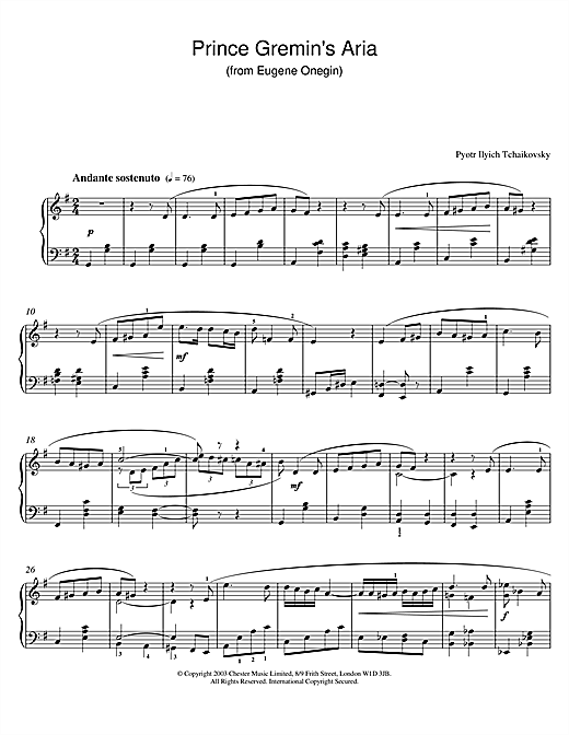 Pyotr Ilyich Tchaikovsky Prince Gremin's Aria (from Eugene Onegin) sheet music notes and chords