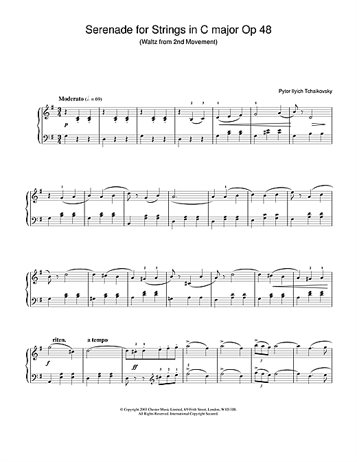 Pyotr Ilyich Tchaikovsky Serenade for Strings in C major Op.48 sheet music notes and chords