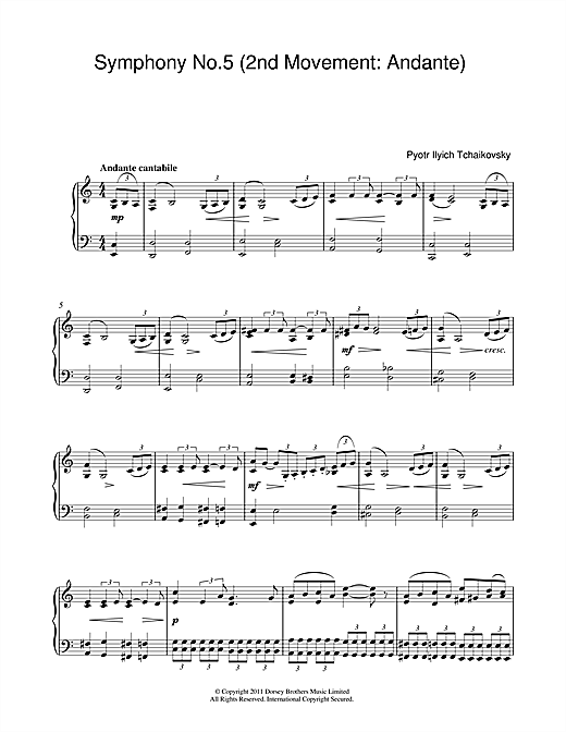 Pyotr Ilyich Tchaikovsky Symphony No.5 (2nd Movement: Andante) sheet music notes and chords