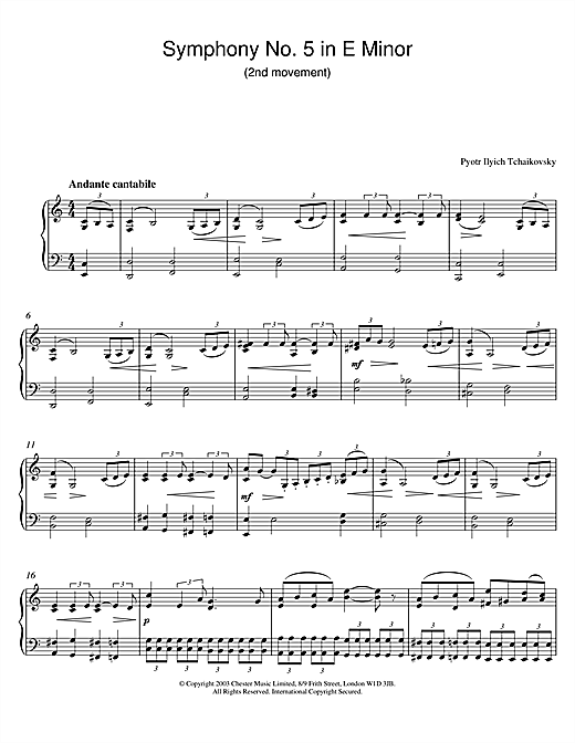 Pyotr Ilyich Tchaikovsky Symphony No. 5 in E Minor (2nd movement) sheet music notes and chords