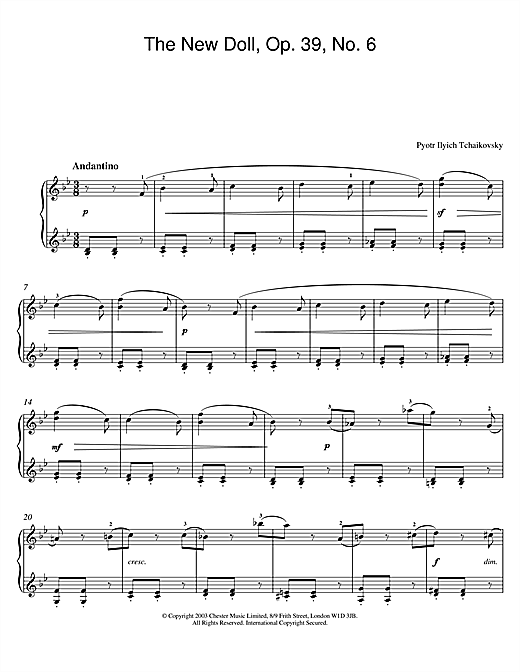 Pyotr Ilyich Tchaikovsky The New Doll, Op. 39, No. 6 (from Album For The Young) sheet music notes and chords