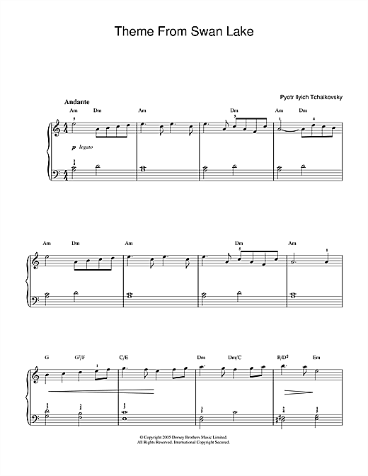 Pyotr Ilyich Tchaikovsky Theme From Swan Lake sheet music notes and chords