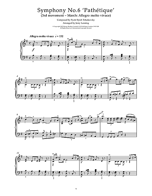Pyotr Ilyich Tchaikovsky Third Movement of Symphony No. 6, 'Pathetique' sheet music notes and chords