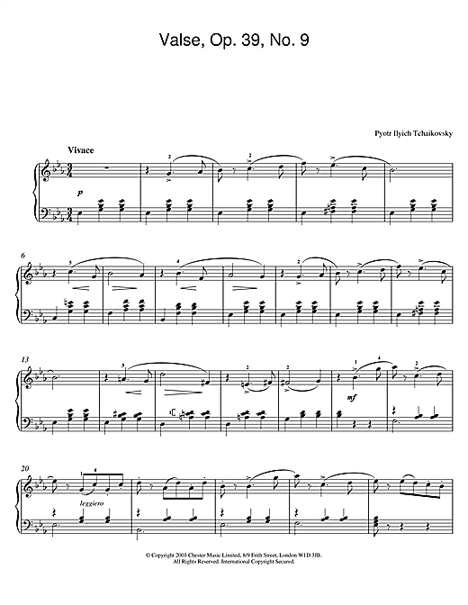 Pyotr Ilyich Tchaikovsky Valse, Op. 39, No. 9 (from Album For The Young) sheet music notes and chords