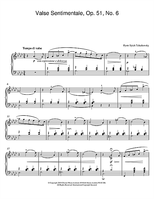 Pyotr Ilyich Tchaikovsky Valse Sentimentale, Op. 51, No. 6 sheet music notes and chords. Download Printable PDF.