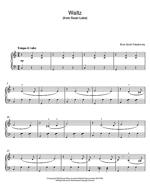 Pyotr Ilyich Tchaikovsky Waltz (from Swan Lake) sheet music notes and chords