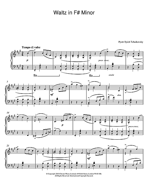 Pyotr Ilyich Tchaikovsky Waltz in F# Minor sheet music notes and chords