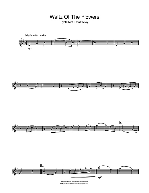 Pyotr Ilyich Tchaikovsky Waltz Of The Flowers (from The Nutcracker Suite) sheet music notes and chords. Download Printable PDF.