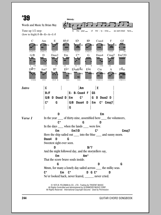 Queen '39 sheet music notes and chords