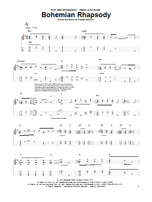 Queen 'Bohemian Rhapsody (arr  Jake Shimabukuro)' Sheet Music Notes, Chords  | Download Printable Ukulele Tab - SKU: 186360
