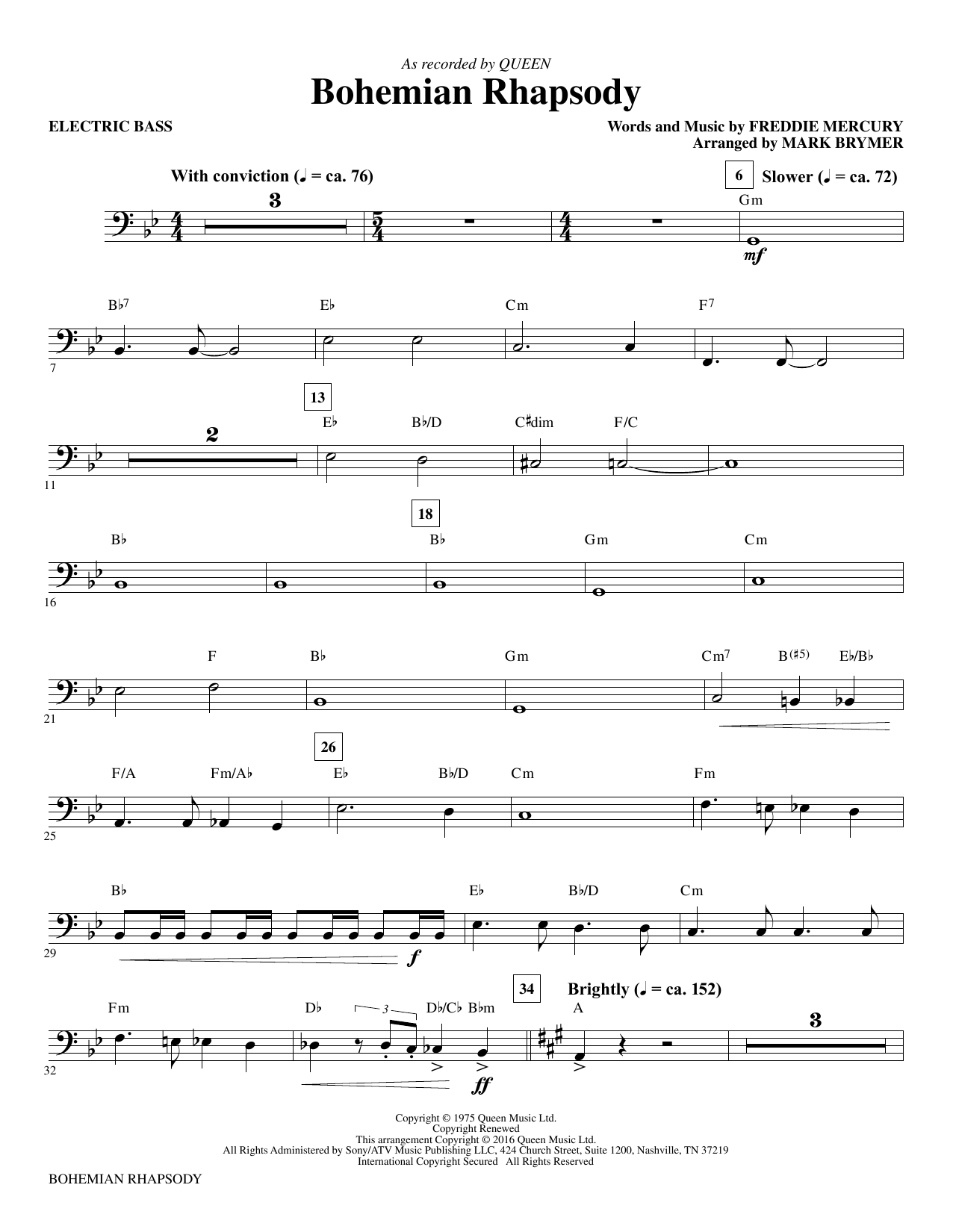 Queen Bohemian Rhapsody (arr. Mark Brymer) - Electric Bass sheet music notes and chords. Download Printable PDF.