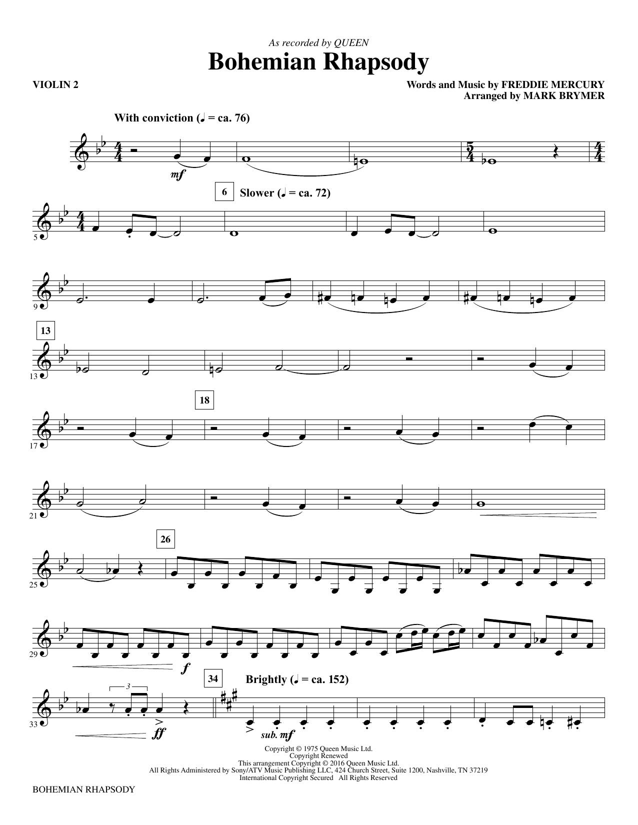 Queen 'Bohemian Rhapsody (arr  Mark Brymer) - Violin 2' Sheet Music Notes,  Chords | Download Printable Choir Instrumental Pak - SKU: 357181