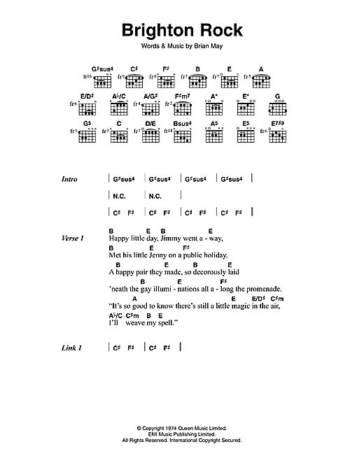 Queen Brighton Rock sheet music notes and chords. Download Printable PDF.