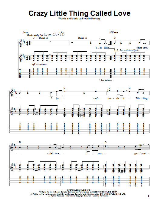 Queen Crazy Little Thing Called Love sheet music notes and chords. Download Printable PDF.