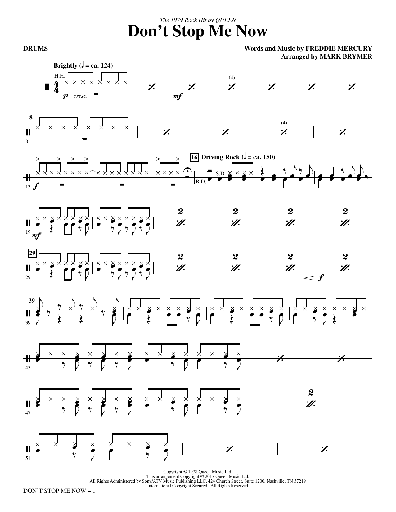 Queen Don't Stop Me Now (arr. Mark Brymer) - Drums sheet music notes and chords. Download Printable PDF.