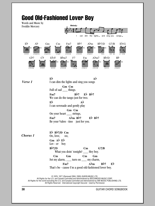 Queen Good Old-Fashioned Lover Boy sheet music notes and chords. Download Printable PDF.