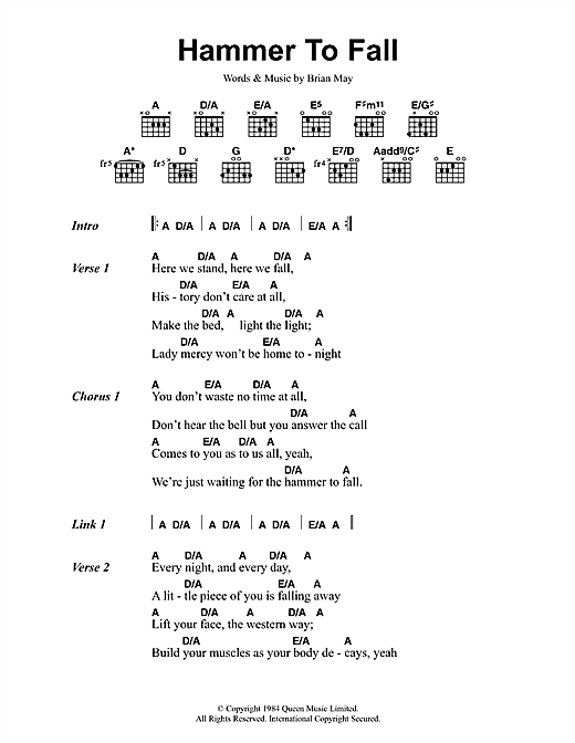 Queen Hammer To Fall sheet music notes and chords