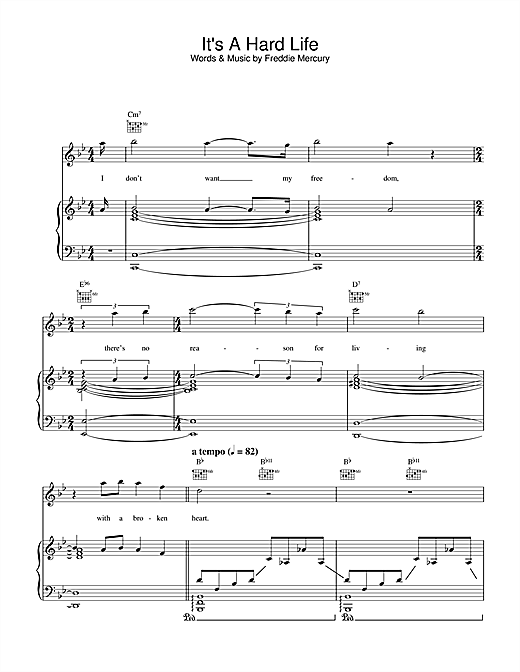 Queen It's A Hard Life sheet music notes and chords. Download Printable PDF.