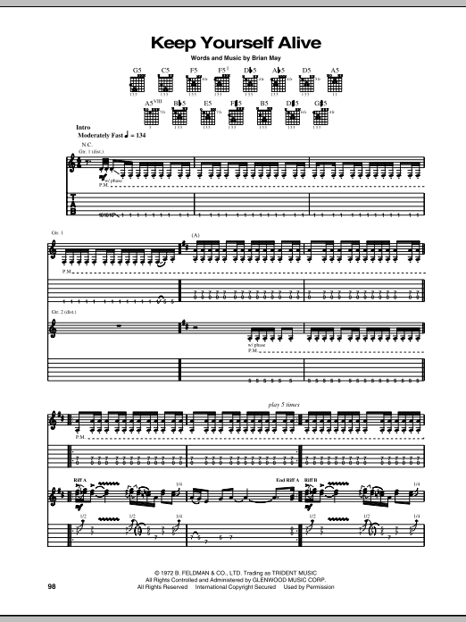 Queen Keep Yourself Alive sheet music notes and chords. Download Printable PDF.