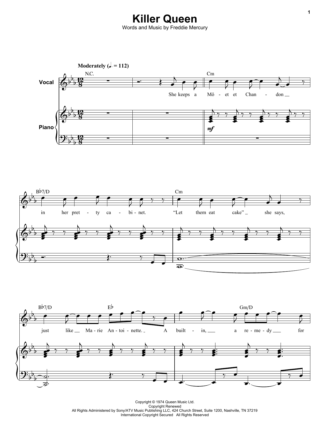 Queen Killer Queen sheet music notes and chords