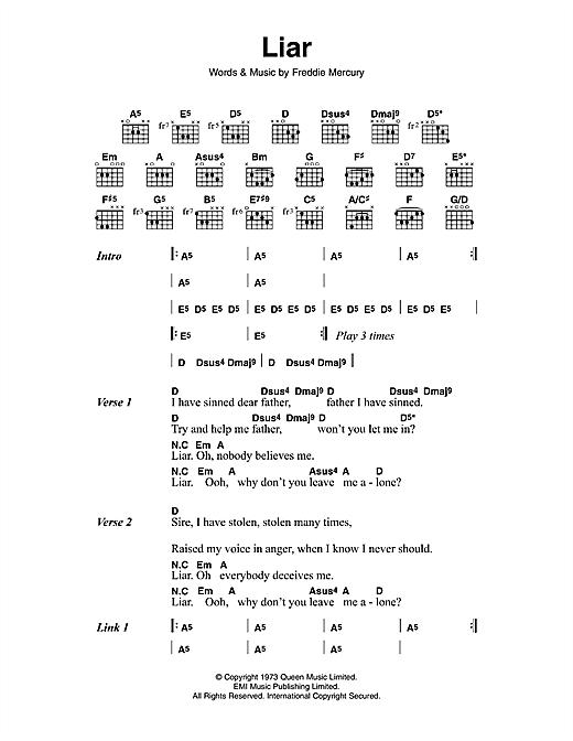 Queen 'Liar' Sheet Music Notes, Chords   Download Printable Guitar  Chords/Lyrics - SKU: 114051