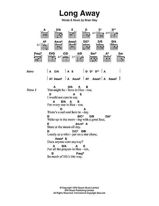 Queen Long Away sheet music notes and chords. Download Printable PDF.