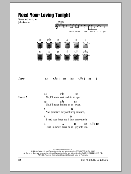Queen Need Your Loving Tonight sheet music notes and chords. Download Printable PDF.