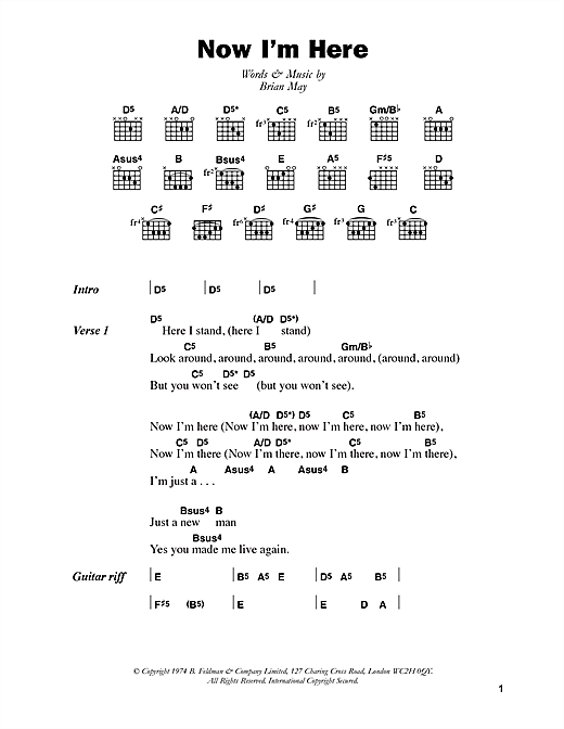 Queen Now I'm Here sheet music notes and chords. Download Printable PDF.