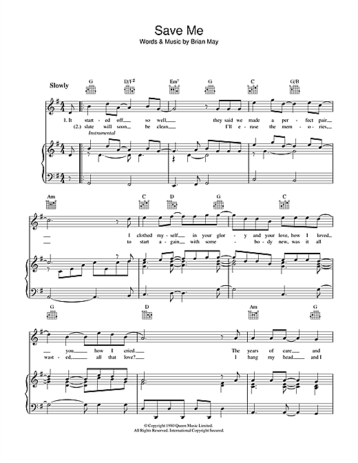 Queen Save Me sheet music notes and chords