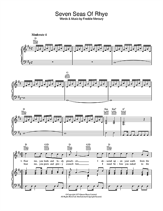 Queen Seven Seas Of Rhye sheet music notes and chords. Download Printable PDF.