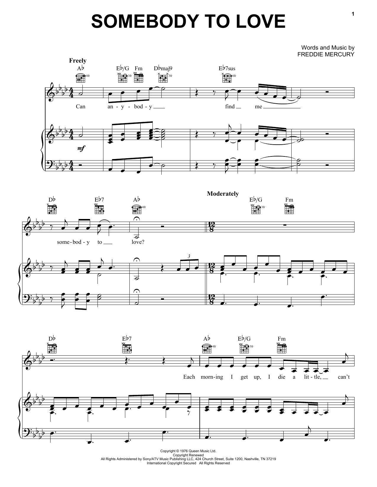 Queen Somebody To Love sheet music notes and chords. Download Printable PDF.