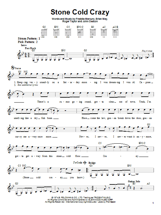 Queen Stone Cold Crazy sheet music notes and chords. Download Printable PDF.