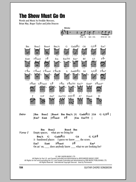 Queen The Show Must Go On sheet music notes and chords