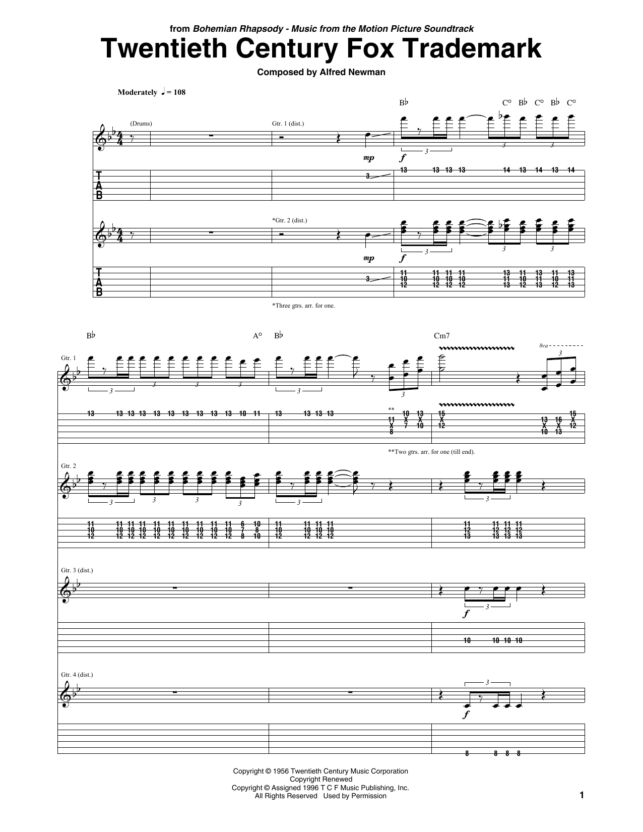 Queen Twentieth Century Fox Trademark sheet music notes and chords. Download Printable PDF.