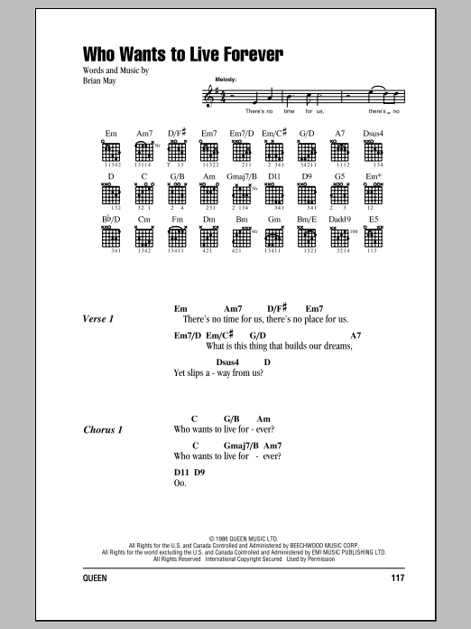 Queen Who Wants To Live Forever sheet music notes and chords