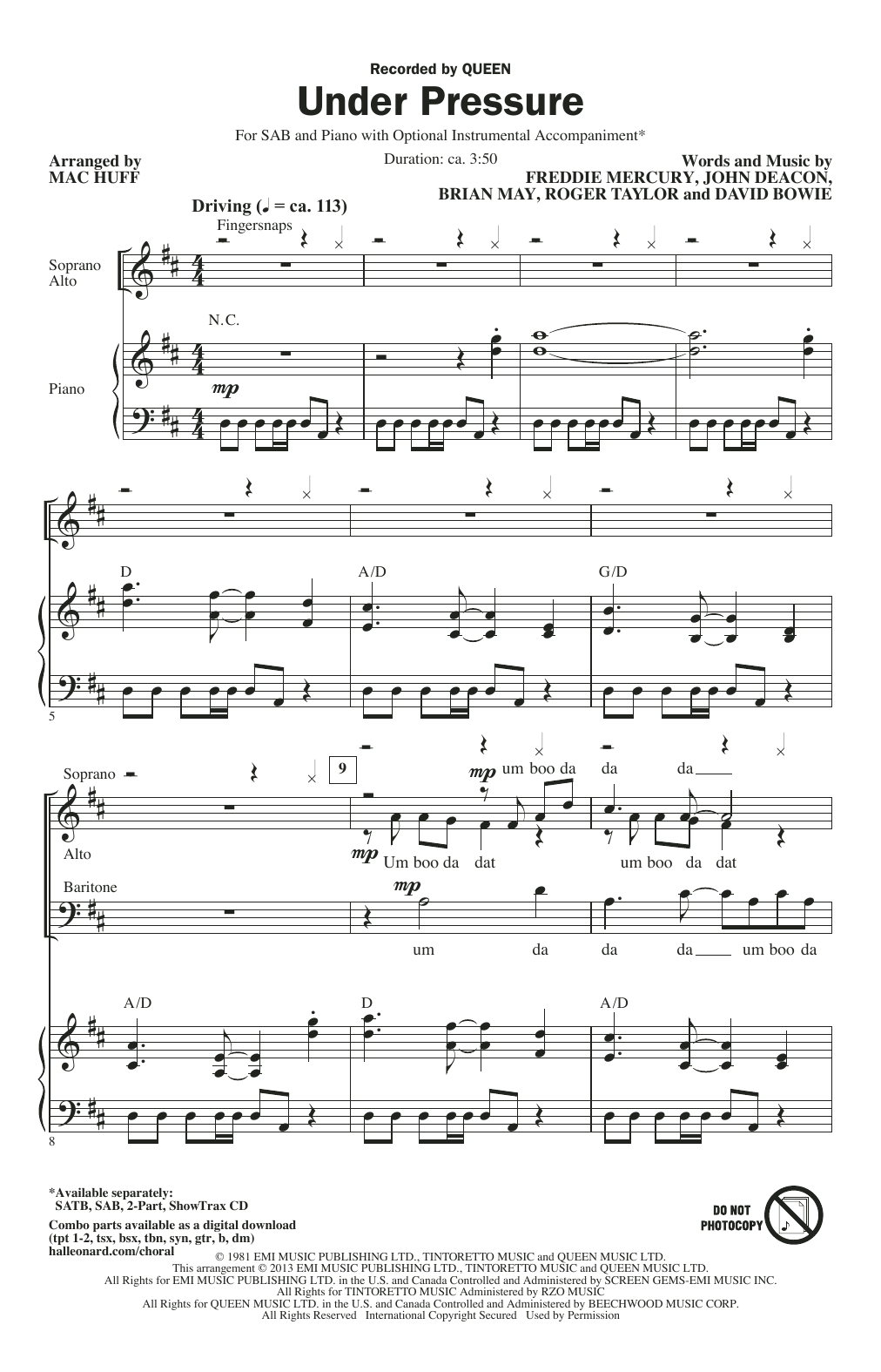 Queen & David Bowie Under Pressure (arr. Mac Huff) sheet music notes and chords. Download Printable PDF.