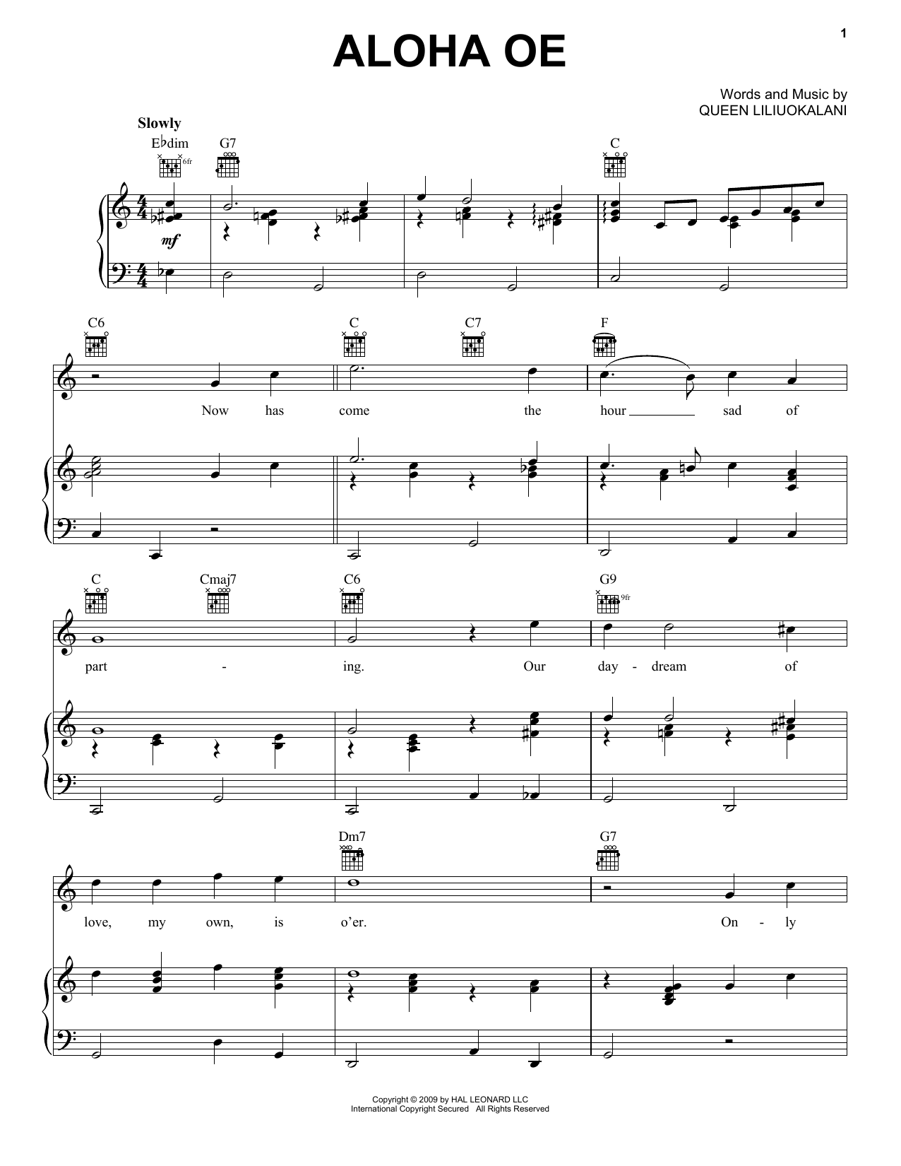 Queen Liliuokalani Aloha Oe sheet music notes and chords. Download Printable PDF.