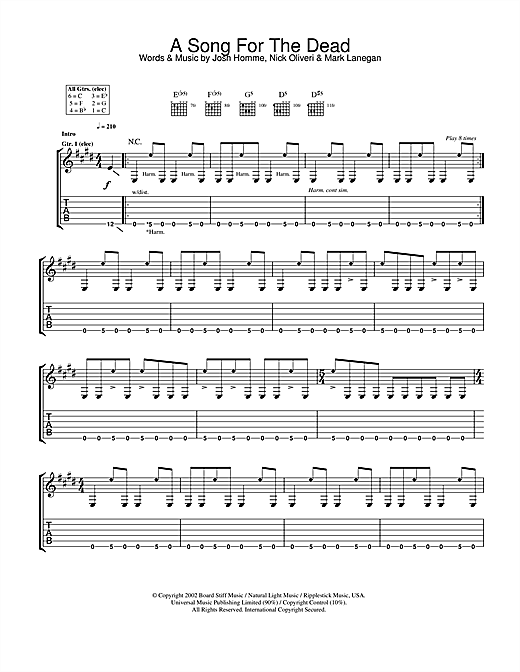 Queens Of The Stone Age A Song For The Dead sheet music notes and chords. Download Printable PDF.
