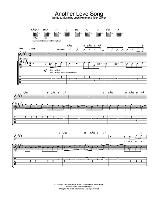 Queens Of The Stone Age Another Love Song sheet music notes and chords. Download Printable PDF.