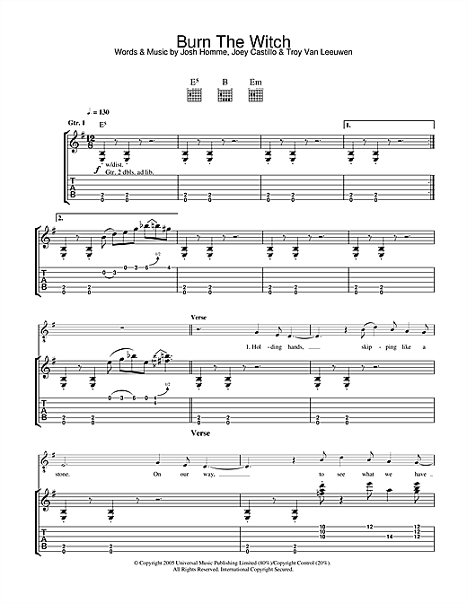Queens Of The Stone Age Burn The Witch sheet music notes and chords. Download Printable PDF.