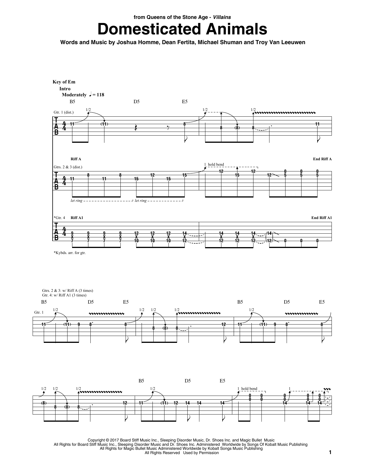 Queens Of The Stone Age Domesticated Animals sheet music notes and chords. Download Printable PDF.