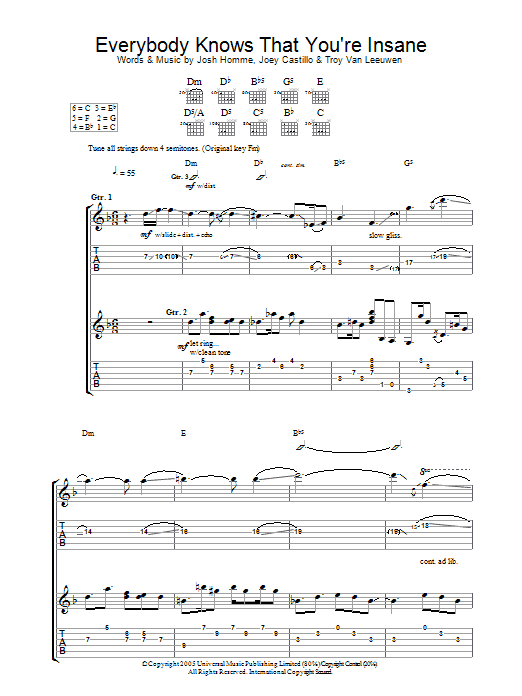 Queens Of The Stone Age Everybody Knows That You're Insane sheet music notes and chords. Download Printable PDF.