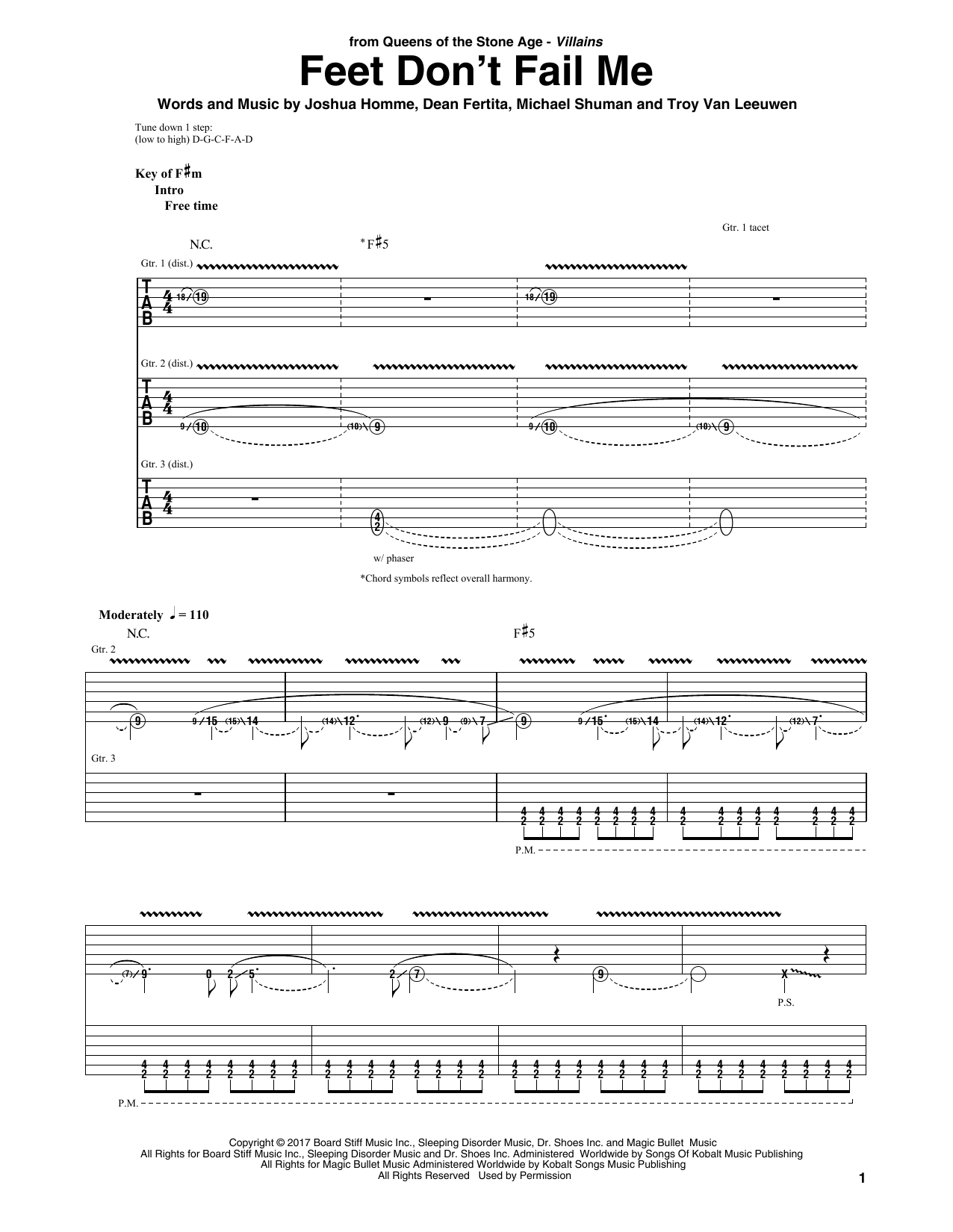 Queens Of The Stone Age Feet Don't Fail Me sheet music notes and chords. Download Printable PDF.