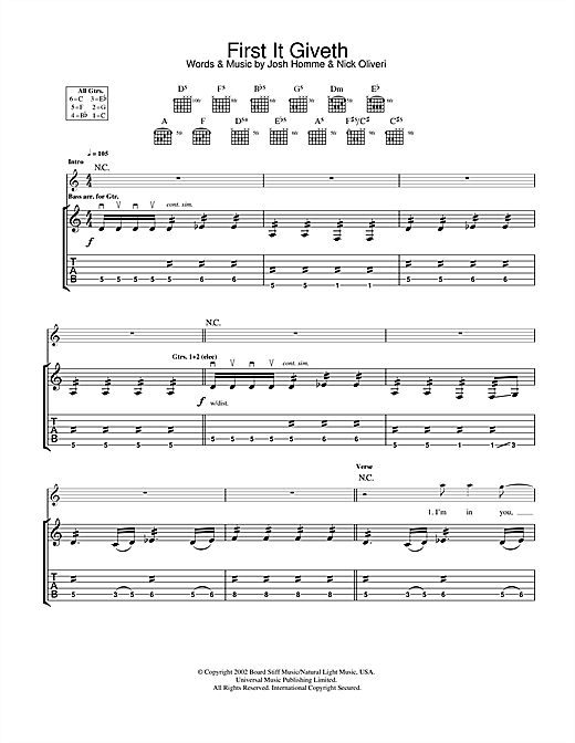 Queens Of The Stone Age First It Giveth sheet music notes and chords. Download Printable PDF.