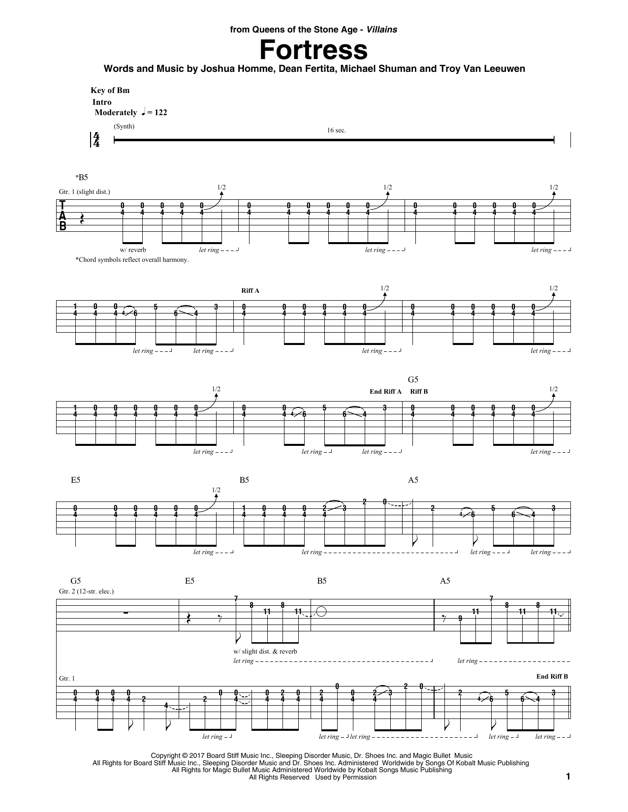 Queens Of The Stone Age Fortress sheet music notes and chords. Download Printable PDF.