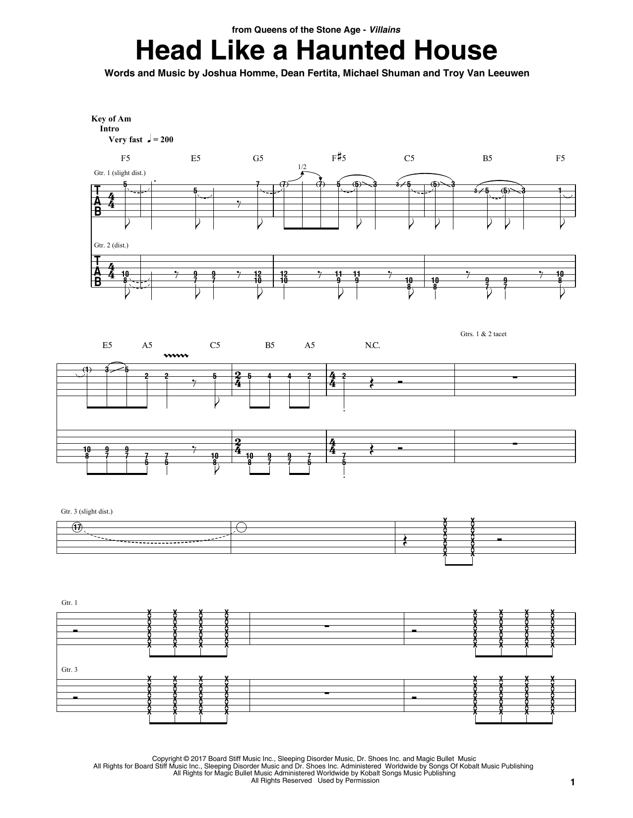Queens Of The Stone Age Head Like A Haunted House sheet music notes and chords. Download Printable PDF.