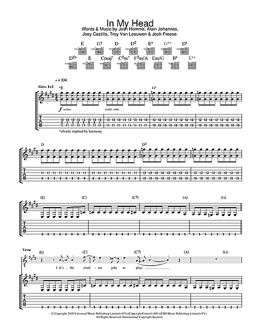 Queens Of The Stone Age In My Head sheet music notes and chords. Download Printable PDF.